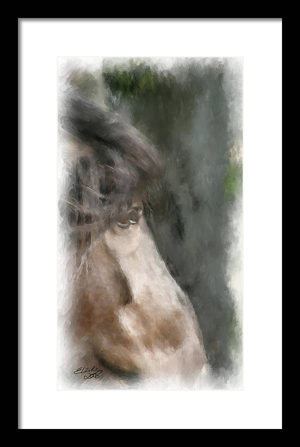 Horse Framed Print featuring the painting Misty Morn by Elzire S