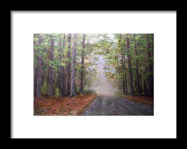 Summ Framed Print featuring the painting Misty Morning Road by Ken Ahlering