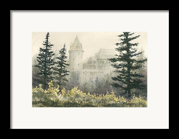 Castle Framed Print featuring the painting Misty Morning by Sam Sidders