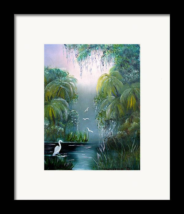 Morning Framed Print featuring the painting Misty Morning Swamp by Darlene Green