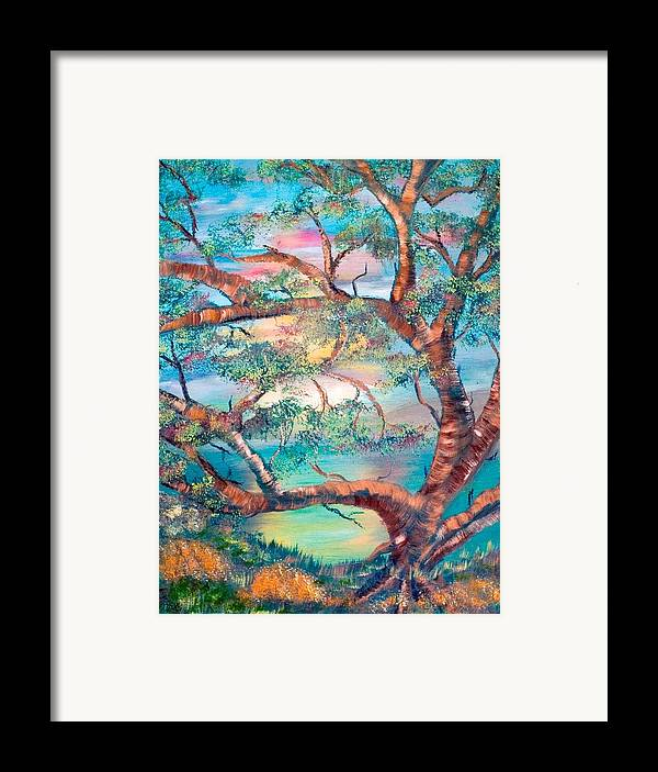Original Framed Print featuring the painting Misty Oak by Mikki Alhart