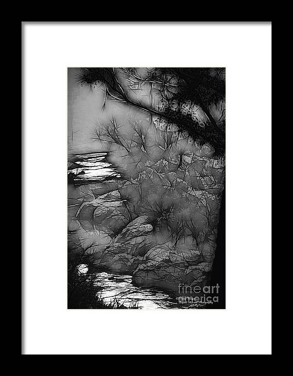 Abstract Framed Print featuring the photograph Misty River by Elaine Teague