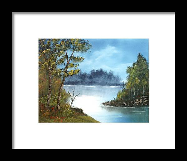 Oil Framed Print featuring the painting Misty River by Larry Hamilton
