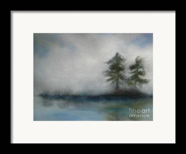 Landscape Framed Print featuring the painting Misty Waters by Vivian Mosley
