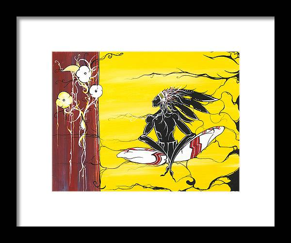 Native Framed Print featuring the painting Misunderstood by Dallas Poundmaker
