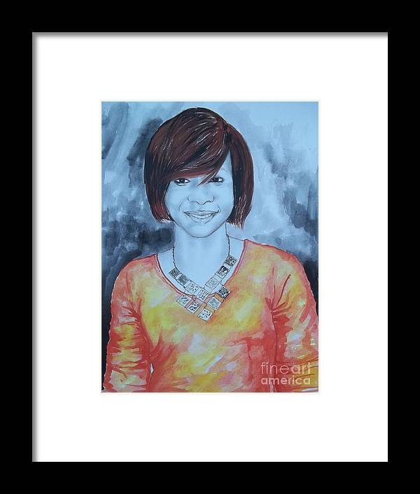 Portrait Framed Print featuring the drawing Mix Media Portrait by Chembaline Uche