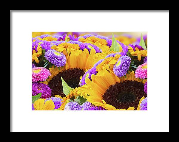 Arrangement Framed Print featuring the photograph Mixed Autumn Flowers by Anastasy Yarmolovich