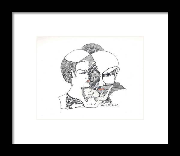 Human Shapes Framed Print featuring the drawing Mixed Identities by Padamvir Singh