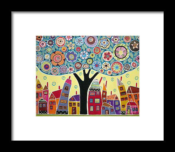 Landscape Framed Print featuring the painting Mixed Media Collage Tree And Houses by Karla Gerard