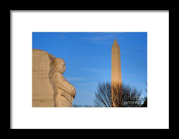 Washington Framed Print featuring the photograph Mlk And Washington Monuments by Olivier Le Queinec