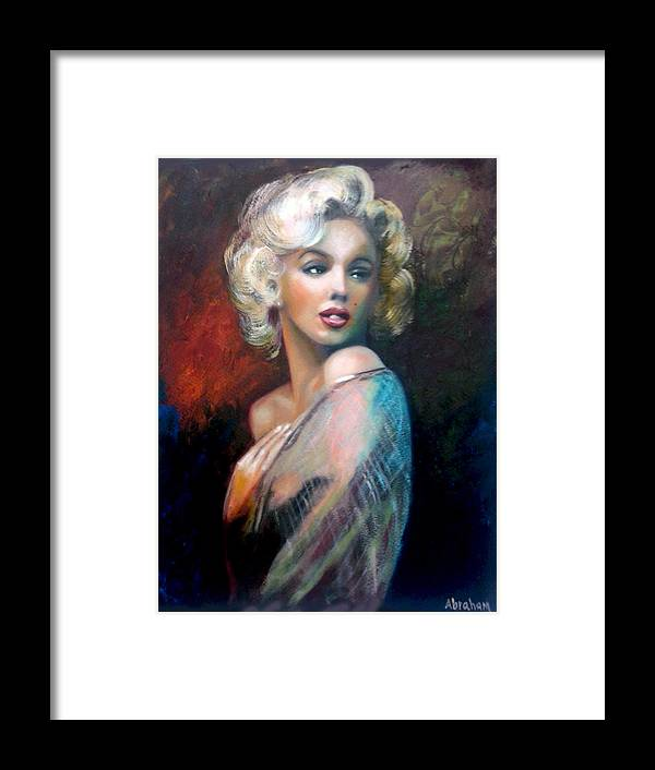 Monroe. Women. Framed Print featuring the painting M.Monroe by Jose Manuel Abraham