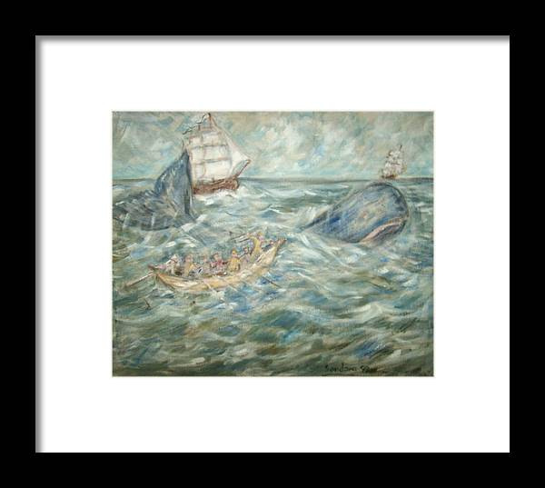 Seascape Whale Ship Ocean Whaleboat Framed Print featuring the painting Mobey Dick by Joseph Sandora Jr