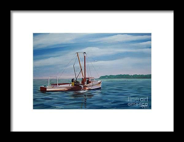 Chesapeake Bay Framed Print featuring the painting Mobjack Waterman by Hugh Harris