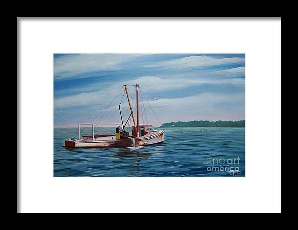 Chesapeake Bay Framed Print featuring the painting Mobjack Waterman by Hugh Harris