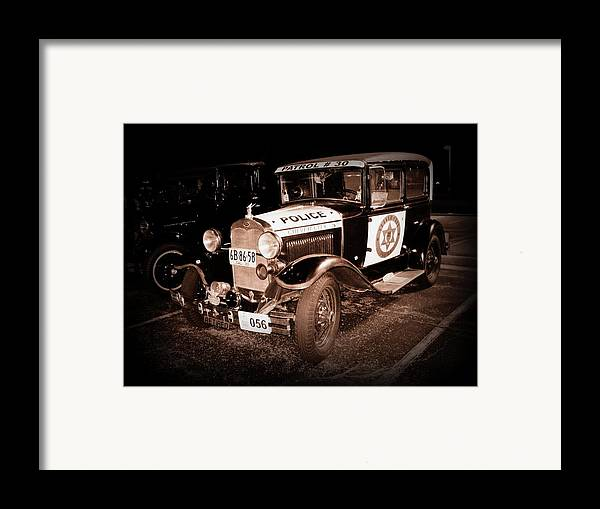 Car Framed Print featuring the photograph Model A Culver City Police Bw by David Dunham