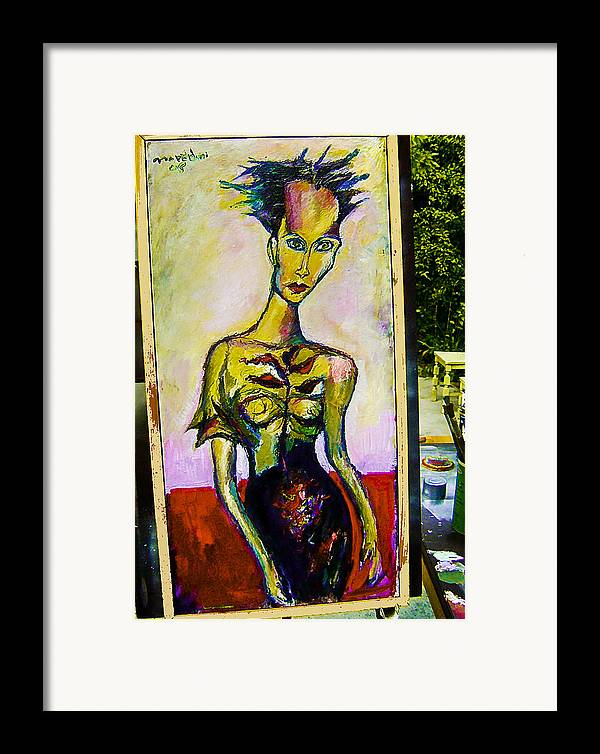 Fashion Framed Print featuring the painting Model II by Noredin Morgan