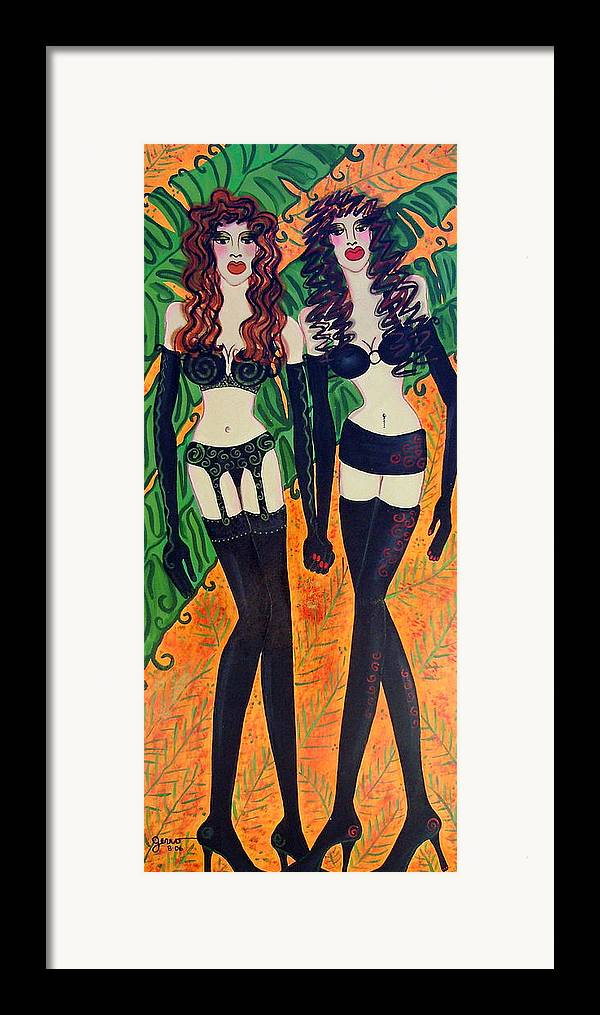 Lingerie Artwork Framed Print featuring the painting Models In Black Lingerie by Helen Gerro