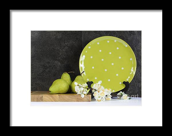 Kitchen Framed Print featuring the photograph Modern Green And White Polka Dot Kitchen by Milleflore Images