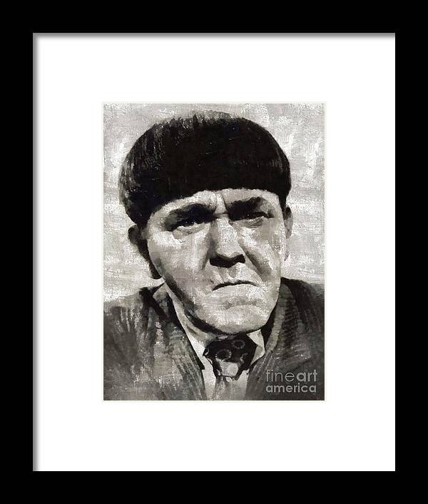 Hollywood Framed Print featuring the painting Moe Howard, Vintage Entertainer by Mary Bassett