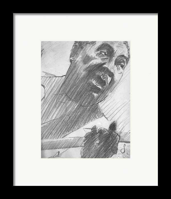 Drawing Framed Print featuring the drawing Mojo Man by Michael Facey