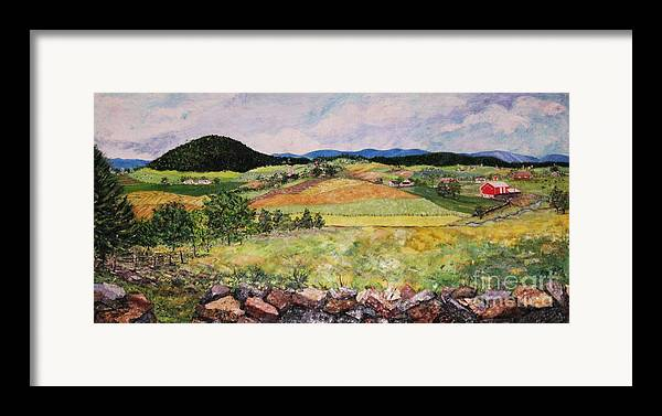 Landscape Framed Print featuring the painting Mole Hill In Summer by Judith Espinoza