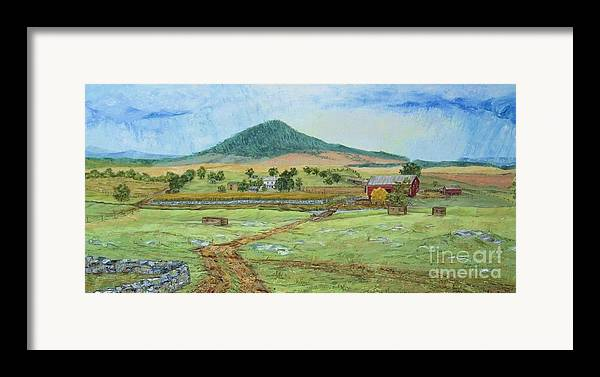 Landscape With Hill In Center Background Framed Print featuring the painting Mole Hill Panorama by Judith Espinoza