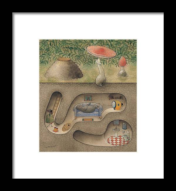 Underground Mole Cellar Tv Agaric Home Relaxation Framed Print featuring the painting Mole by Kestutis Kasparavicius