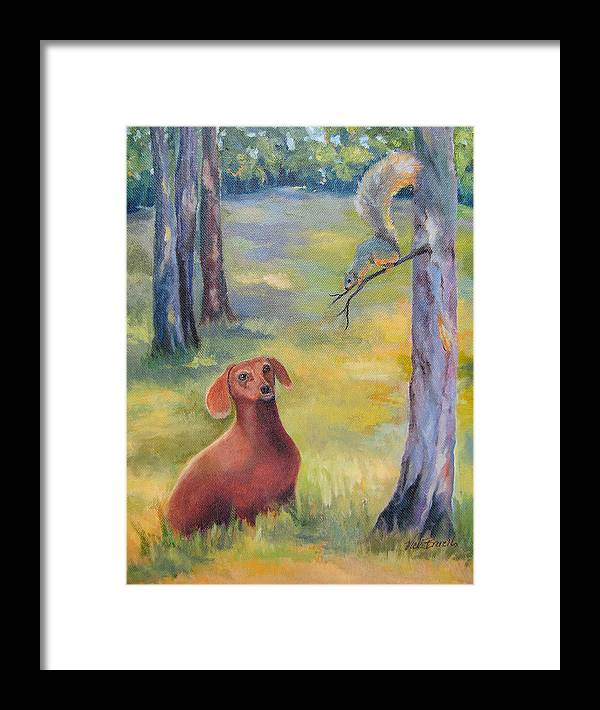Animal Framed Print featuring the painting Molly And The Squirrel by Vicki Brevell