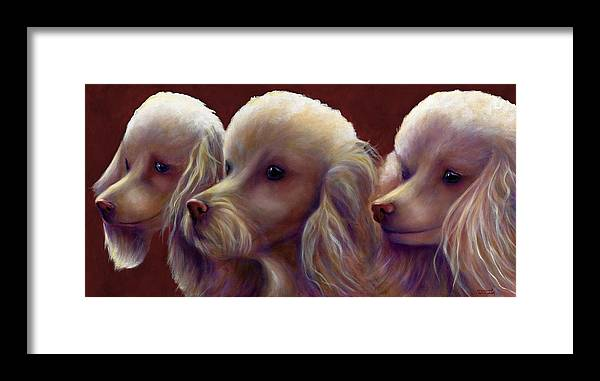 Dogs Framed Print featuring the painting Molly Charlie and Abby by Shannon Grissom