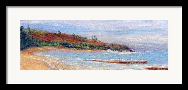 Coastal Decor Framed Print featuring the painting Moloa'a Beach by Kenneth Grzesik