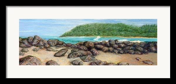 Coastal Decor Framed Print featuring the painting Moloa'a Rocks by Kenneth Grzesik