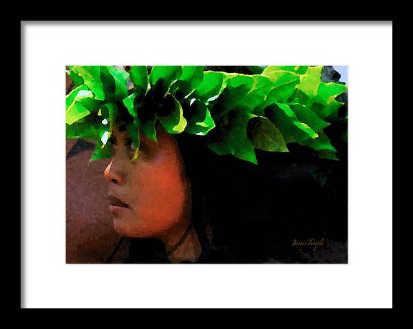 Hula Framed Print featuring the digital art Molokai Wahine Dancer by James Temple