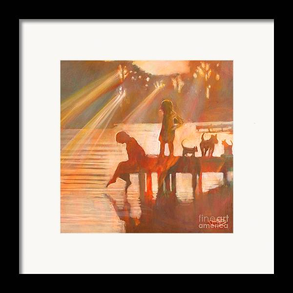 Children Framed Print featuring the painting Mom Says You Gotta Come Now by Kip Decker
