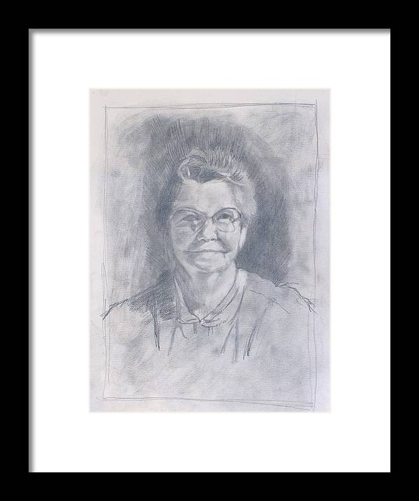 Mom Framed Print featuring the drawing Mom Study by Robert Bissett