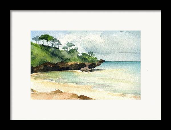 Landscape Framed Print featuring the painting Mombasa Beach by Stephanie Aarons