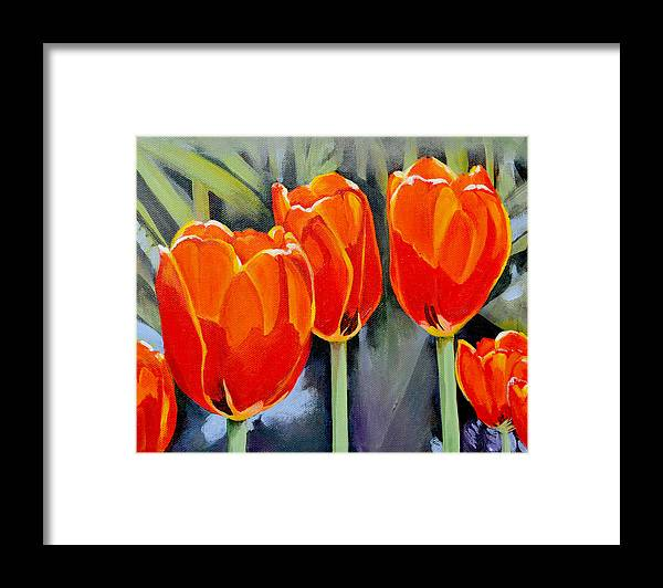 Tulip Framed Print featuring the painting Moment in the Sun 3 by Mary Chant