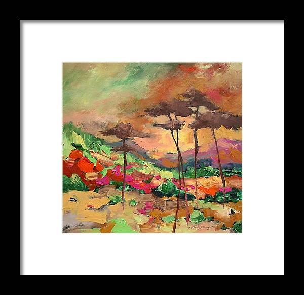Landscape Framed Print featuring the painting Moment Of Serenity by Linda Monfort