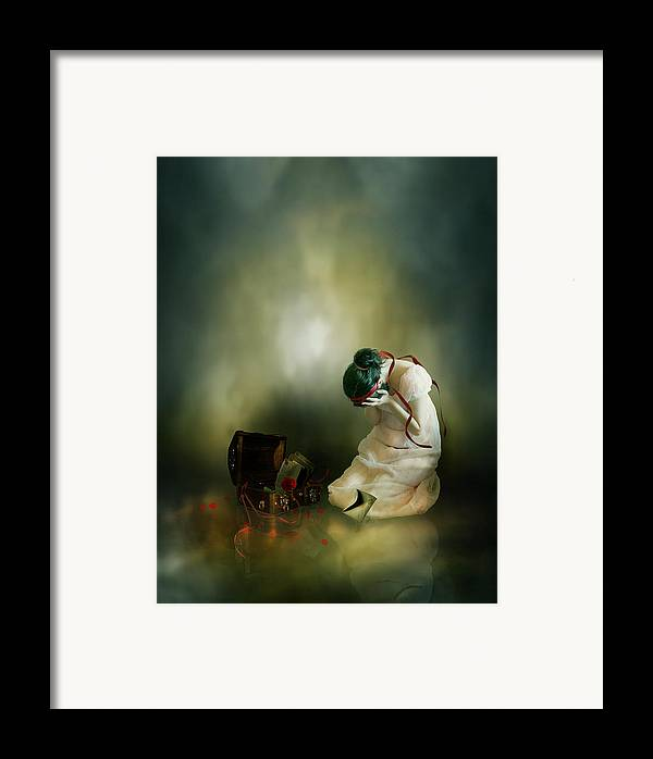 Woman Framed Print featuring the digital art Momento by Mary Hood