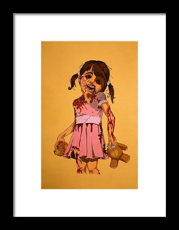 Horror Framed Print featuring the painting Momma Can I Kill Tonight by Shawn OLeary