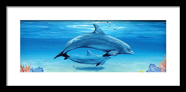 Dolphin Framed Print featuring the painting Momma by Darlene Green