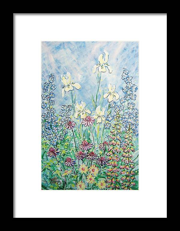 Floral Framed Print featuring the painting Moms Garden by Robert Findley