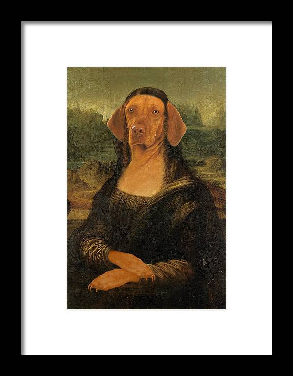 Mona Lisa Framed Print featuring the digital art Mona Visla by Galen Hazelhofer