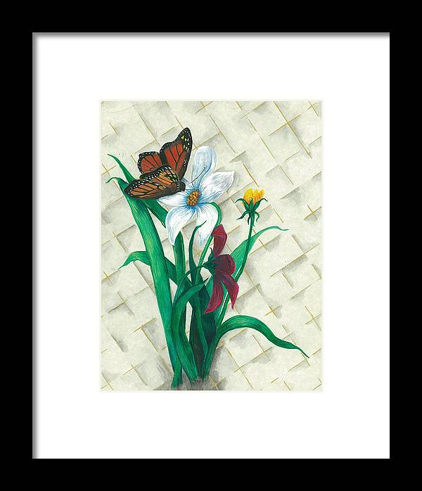 Flowers Framed Print featuring the painting Monarch And Flowers by Sally Balfany