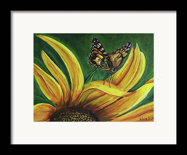 Butterfly Framed Print featuring the painting Monarch Butterfly On A Sunflower by Silvia Philippsohn