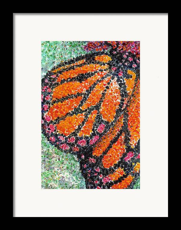 Watercolor Framed Print featuring the painting Monarch Butterfly On Ocotillo Blossom by Cynthia Ann Swan