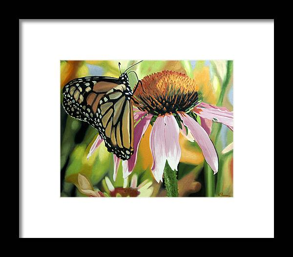 Butterfly Framed Print featuring the painting Monarch by Kenneth Young
