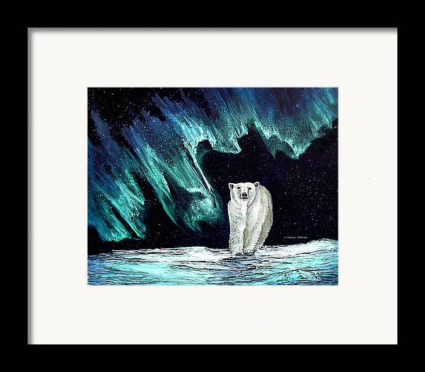 Bear Framed Print featuring the painting Monarch Of His Arctic Domain by Dianne Roberson