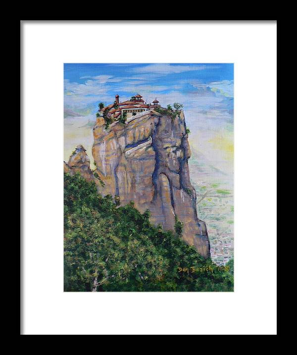 Monastery Framed Print featuring the painting Monastery of Aghia Triada by Dan Bozich