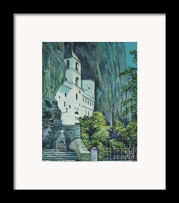 Architecture Framed Print featuring the painting Monastery Ostrog Montenegro by Sinisa Saratlic