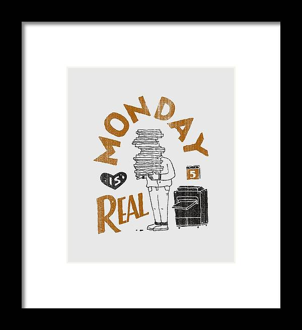 Monday Framed Print featuring the drawing Monday Is Real by Tatak Waskitho